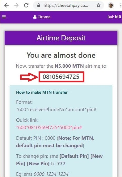 Cheetahpay guideline to transfer airtime