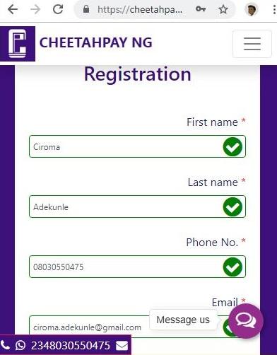 Cheetahpay Signup